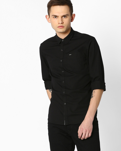 Cotton Slim Fit Shirt By Lee ( Black )
