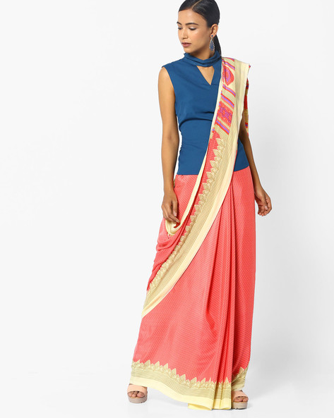 Printed Saree With Contrast Border By Majestic Silk ( Red )