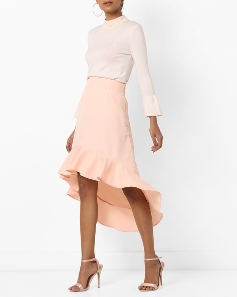 High-Low Skirt With Ruffled Hemline By AJIO ( Pink )