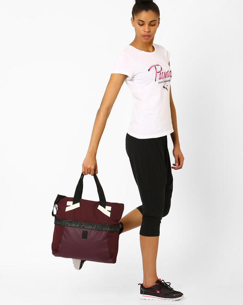 Evo Plus Shopper Tote Bag By Puma ( Wine )