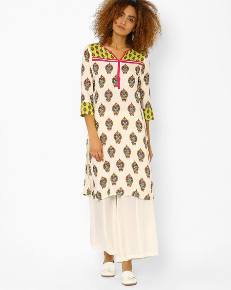 Printed Kurta With Contrast Panels By Juniper ( Offwhite )
