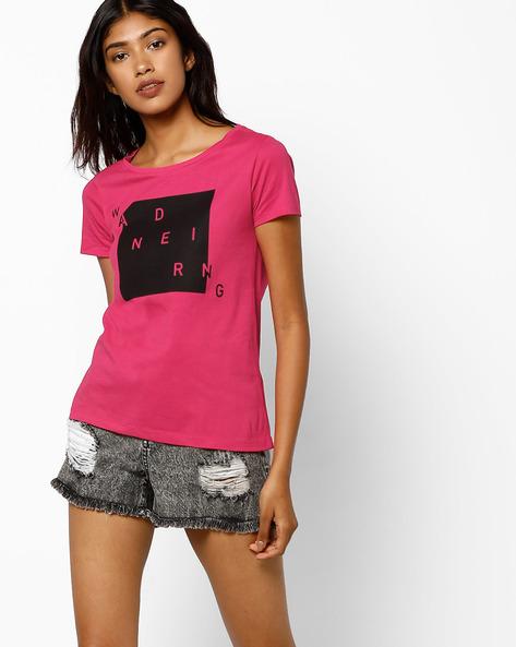 Graphic Print Crew-Neck T-shirt By AJIO ( Pink )