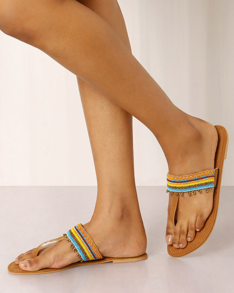 Beaded T-strap Chappals By Indie Picks ( Brown ) - 460017697001