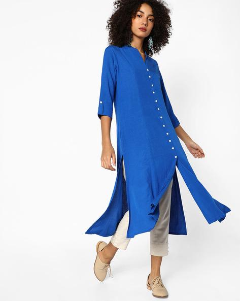 Straight Kurta With Slit Hemline By Melange By Lifestyle ( Blue )
