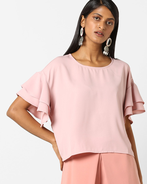 Top With Layered Sleeves By FIG ( Pink )