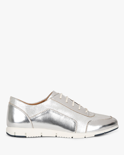 Panelled Low-Top Lace-Up Shoes By AJIO ( Silver )