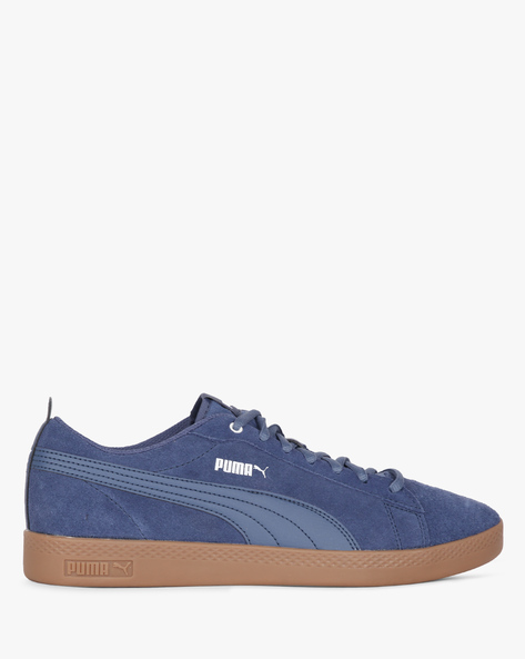 Smash V2 Low-Top Lace-Up Shoes By Puma ( Blue )