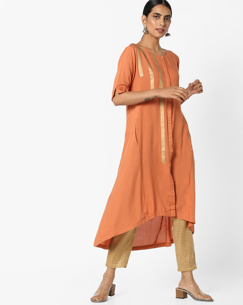 Straight Kurta With Asymmetrical Hem By Project Eve IW Casual ( Orange )