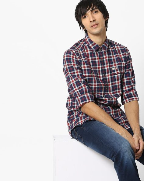 Checked Shirt With Curved Hem By US POLO ( Red )