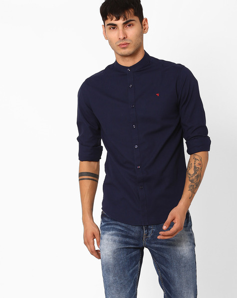 Slim Fit Shirt With Band Collar By The Indian Garage Co ( Navy )