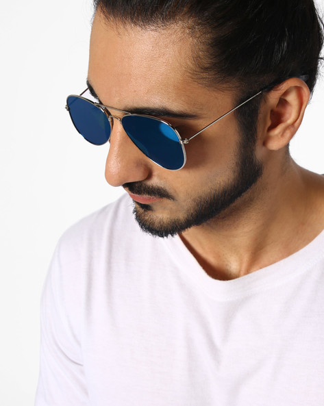 Mirrored Aviators With Metal Frame By DANNY DAZE ( Blue )