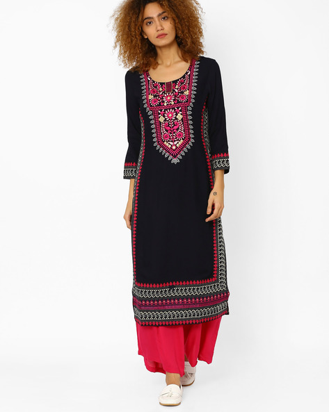 Printed Straight Kurta With Embroidery By Kifahari ( Black )