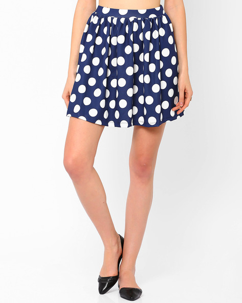 Polka Print Mini Skirt By AJIO ( White )