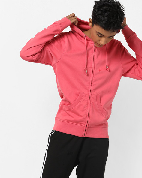 Zip-Front Hoodie With Split Kangaroo Pockets By WRANGLER ( Rose )