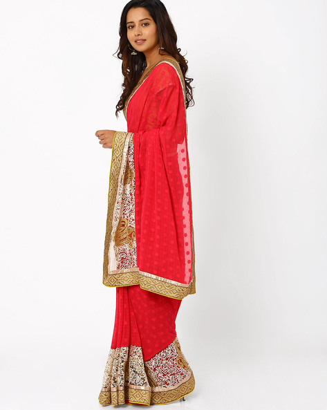 Embroidered Georgette Saree By Viva N Diva ( Rose )