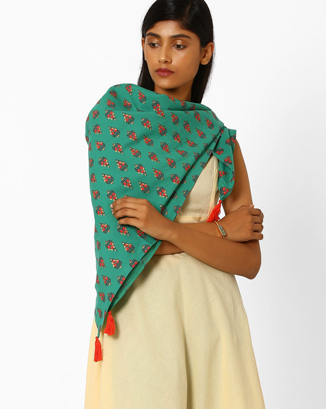 Printed Cotton Stole With Tassels By AJIO ( Teal )