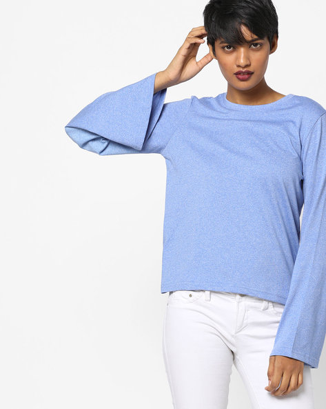 Heathered Top With Bell Sleeves By AJIO ( Blue )