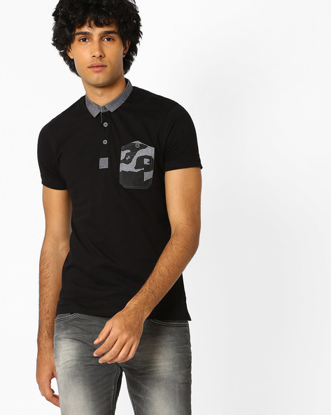 Slim Fit Polo T-shirt With Pocket Detail By Killer ( Black )