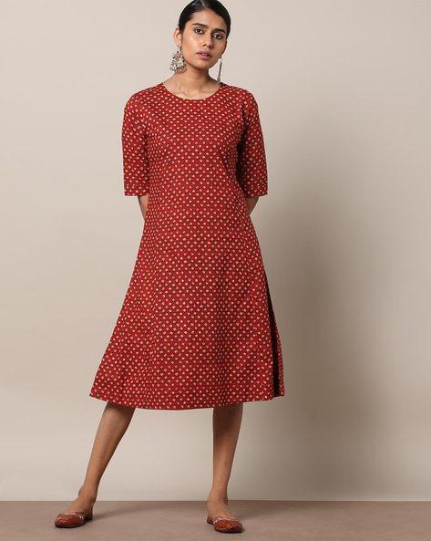 Printed Cotton Princess A-line Dress By Seasons ( Red )