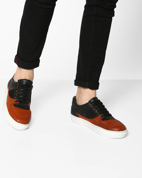 Colourblock Sneakers With Mesh Panel By TURN ( Rust )