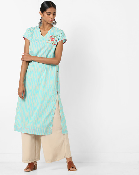 Pinstriped Kurta With Floral Embroidery By AJIO ( Blue )