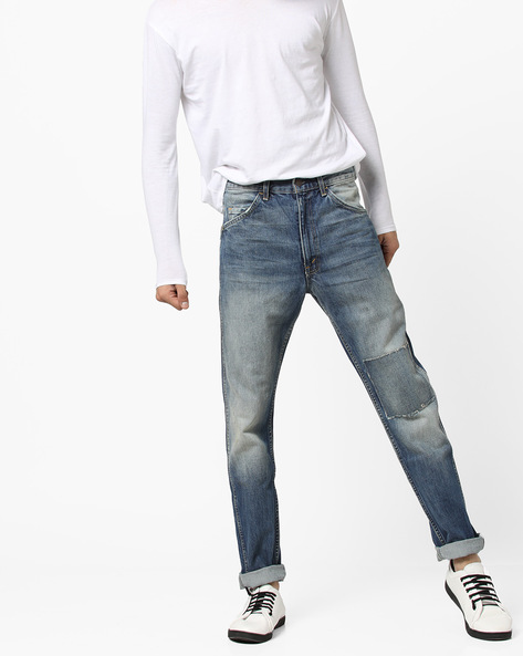 Mid-Wash Distressed Slim Fit Jeans By LEVIS ( Blue )