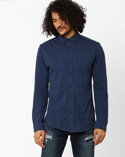 Slim Fit Shirt With Curved Hemline By Jack & Jones ( Blue )