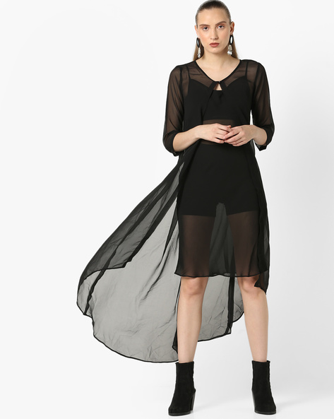 Sheer Shrug With High-Low Hemline By And ( Black )