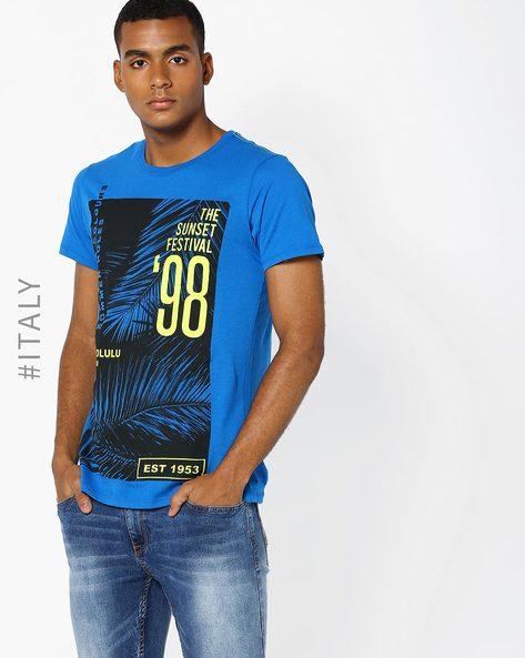 Tropical Print Cotton T-shirt By ALCOTT ( Lightblue )