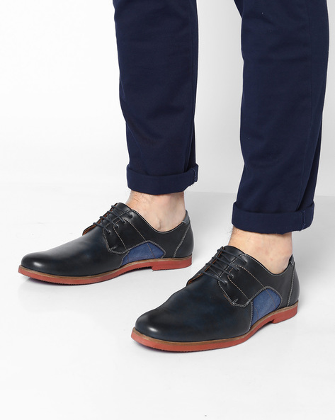 Panelled Derby Shoes By AJIO ( Navy )