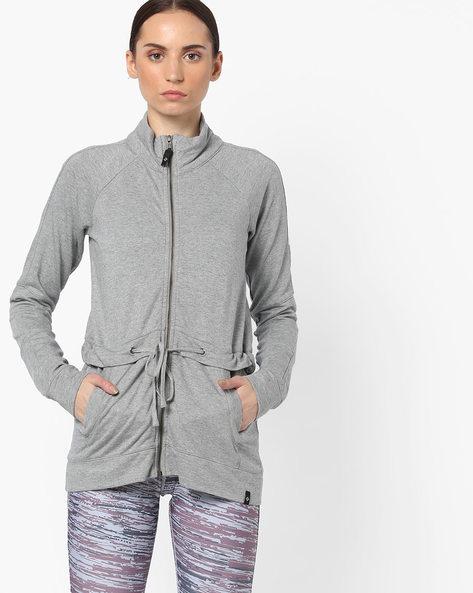Zip-Front Jacket With Raglan Sleeves By SATVA ( Grey )