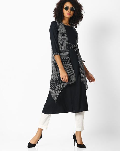 Kurta With Printed Sleeveless Shrug By AYAANY ( Black )