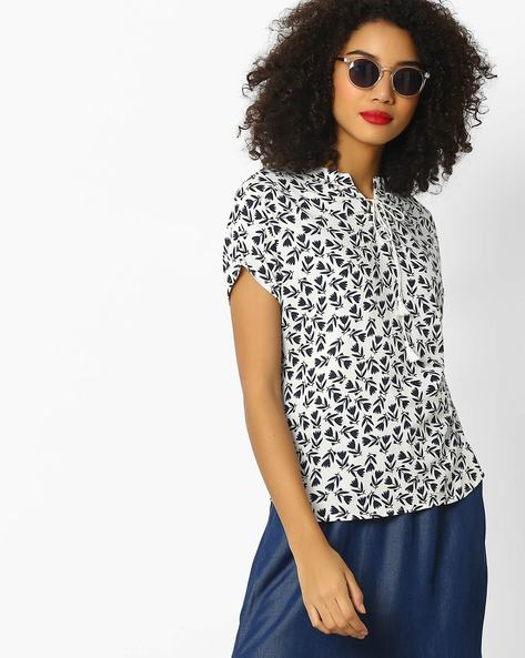 Floral Print Top With Tie-Up By DNMX ( Offwhite )