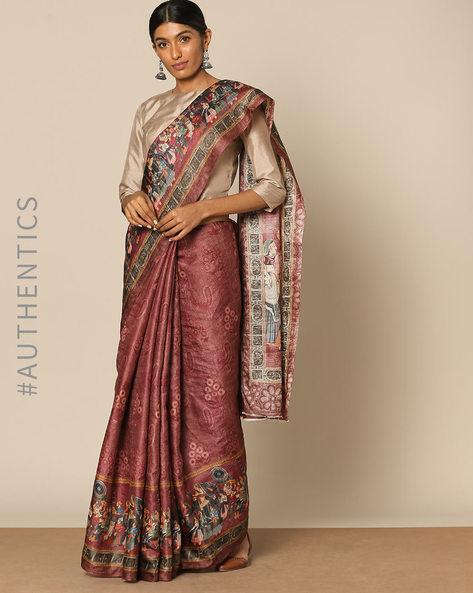 Mythological Print Pure Tussar Silk Designer Saree By Rudrakaashe-MSU ( Maroon )