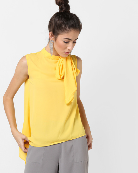 Asymmetrical Top With Neck Tie-Up By AJIO ( Lime )