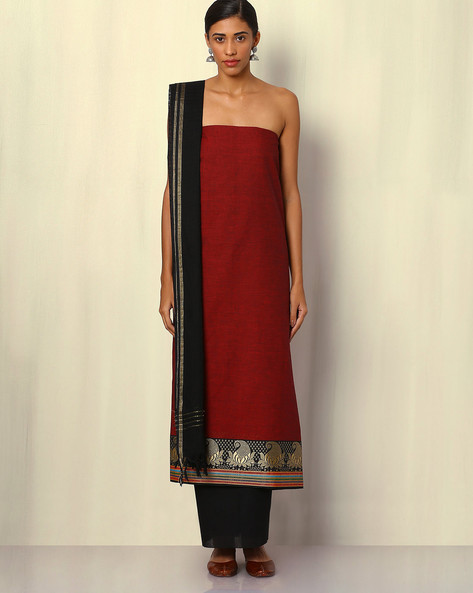 South Cotton Dress Material With Zari Border By Indie Picks ( Maroon )
