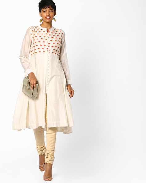 Anarkali Kurta With Placement Embroidery By PE IW Evening ( Offwhite )