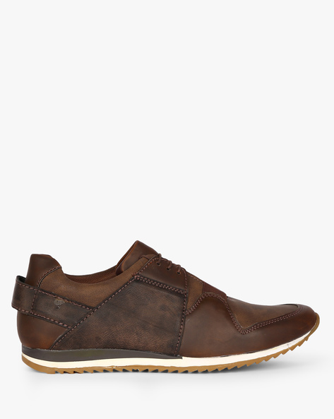 Panelled Lace-Up Casual Shoes By CLOZZ ( Brown )