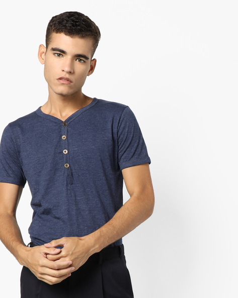 Heathered Henley T-Shirt By Blue Saint ( Navy )