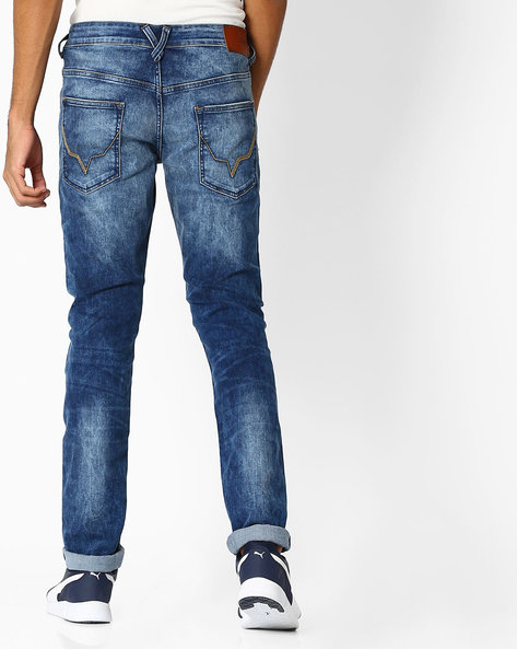 Mid-Wash Distressed Slim Fit Jeans By Pepe Jeans ( Blue )