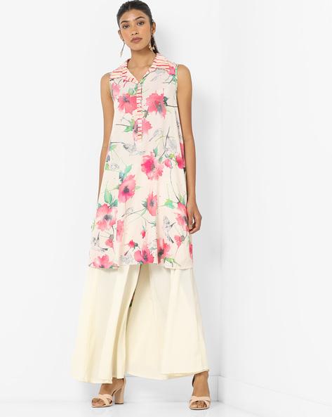Floral Print Kurta With Asymmetrical Hemline By Biba ( Pink )