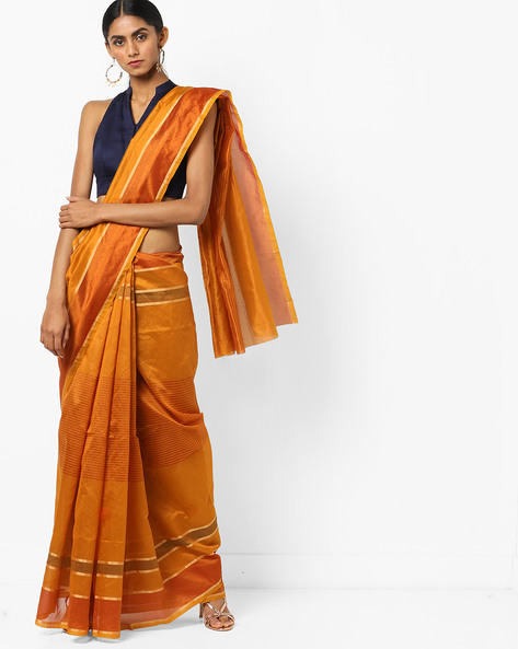 Striped Saree With Zari Border By Florence ( Mustard )