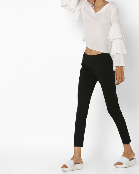 Ankle-Length Pants With Elasicated Waist By UNITED COLORS OF BENETTON ( Black )