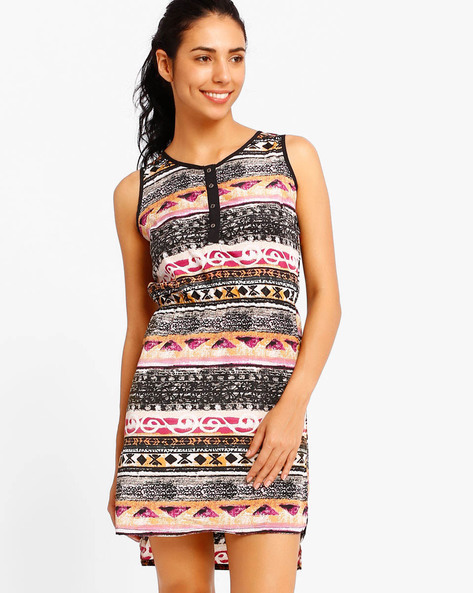 Printed Dress With Elasticated Waist By Style Quotient By Noi ( Purple )