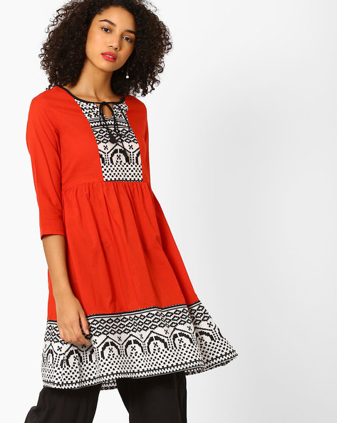 Flared Printed Kurta With Tie-Up By AJIO ( Red )