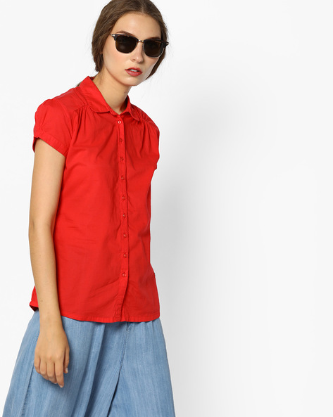 Cotton Shirt With Curved Hemline By WRANGLER ( Red )