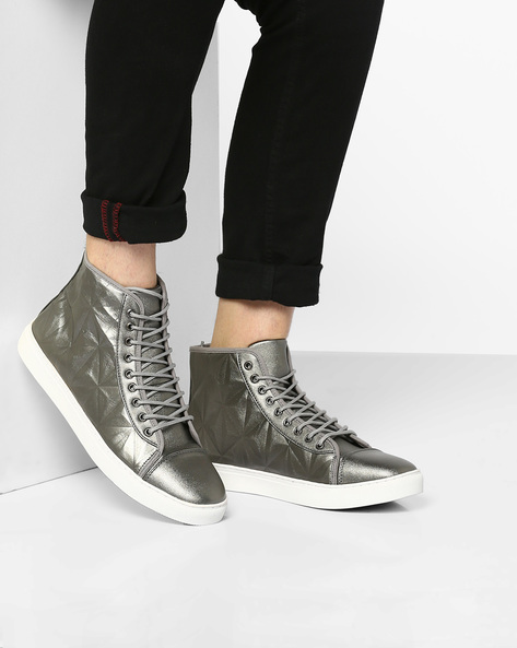 High-Top Lace-Up Sneakers By AJIO ( Silver )