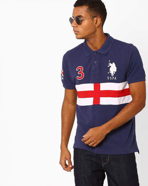 Polo T-shirt With Printed Panel By US POLO ( Blue )