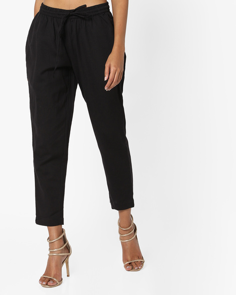 Calf-Length Pants With Drawstring Fastening By Project Eve IW Casual ( Black )
