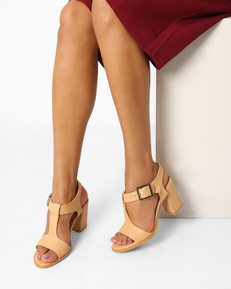 Block Heels With Buckle Closure By AJIO ( Beige )